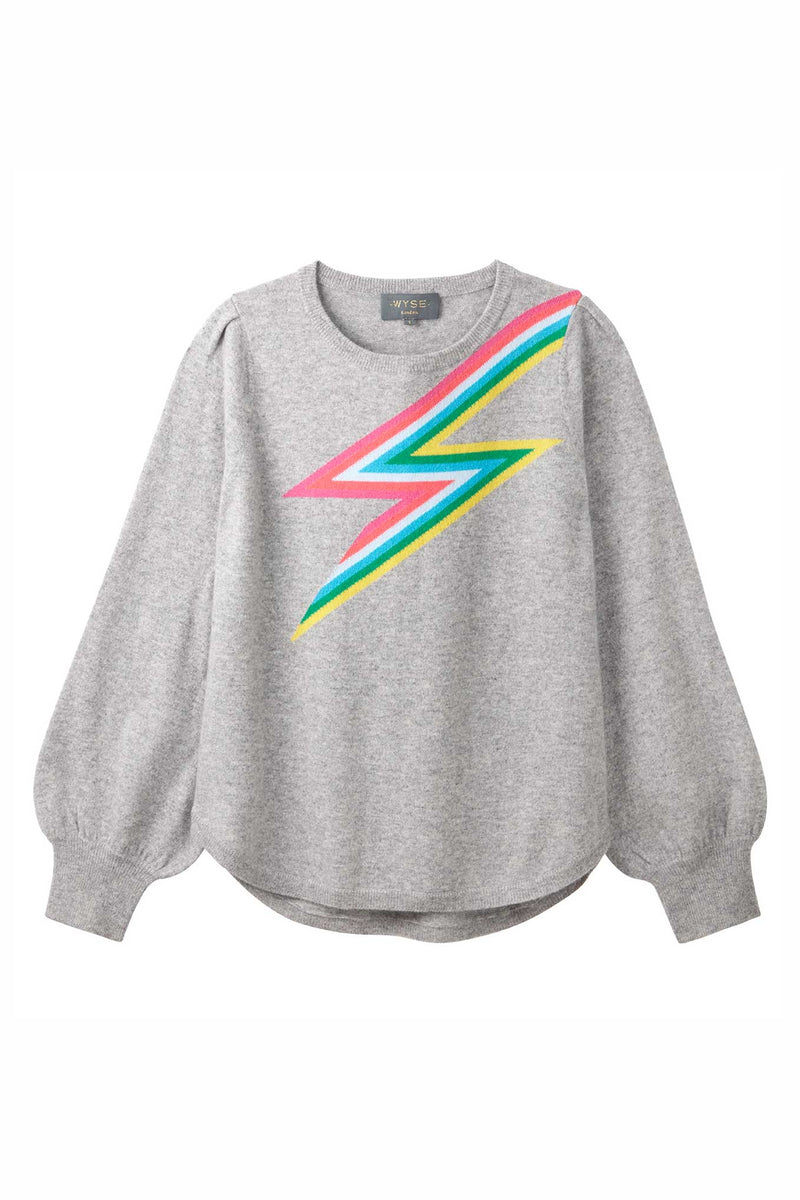 Esme Rainbow Lightning Puff Sleeve - Grey