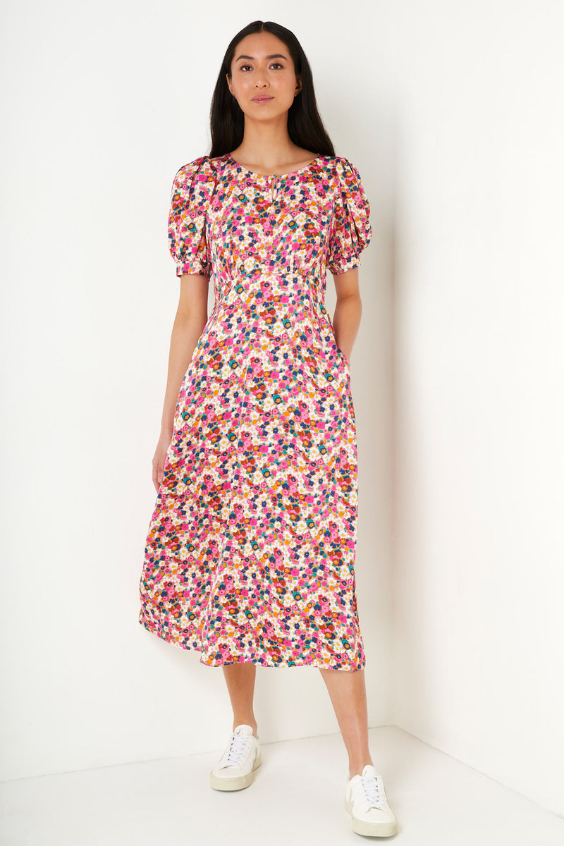 Elena Daisy Print Tea Dress - Pink Multi
