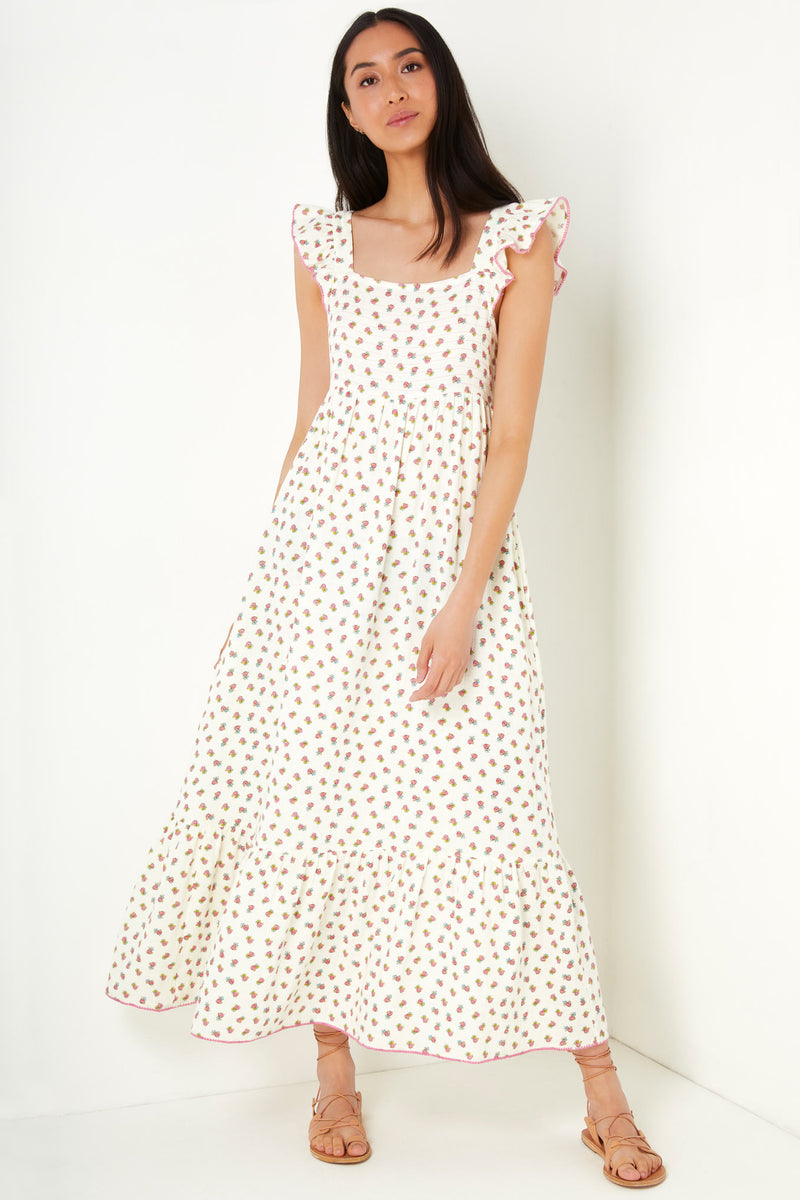 Ella Rose Bud Print Dress - Ivory
