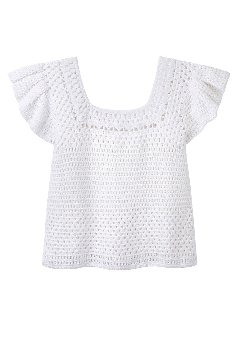 Estelle Crochet Flutter Sleeve Top - White