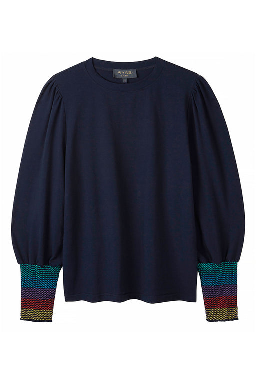 FRAN SMOCKED SLEEVE TEE - Navy