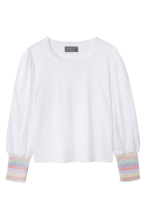 FRAN SMOCKED SLEEVE TEE - White