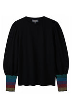 Fran Smocked Sleeve Tee - Black