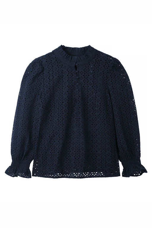 Fran Broderie Blouse - Navy
