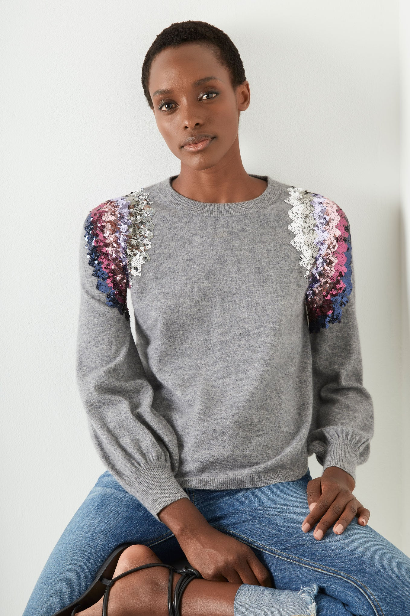 Fleur Sequin Shoulder - Grey