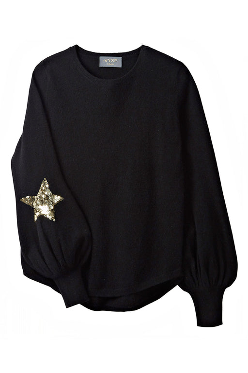 Flo Sequin Star Bell Sleeve - Black/Gold