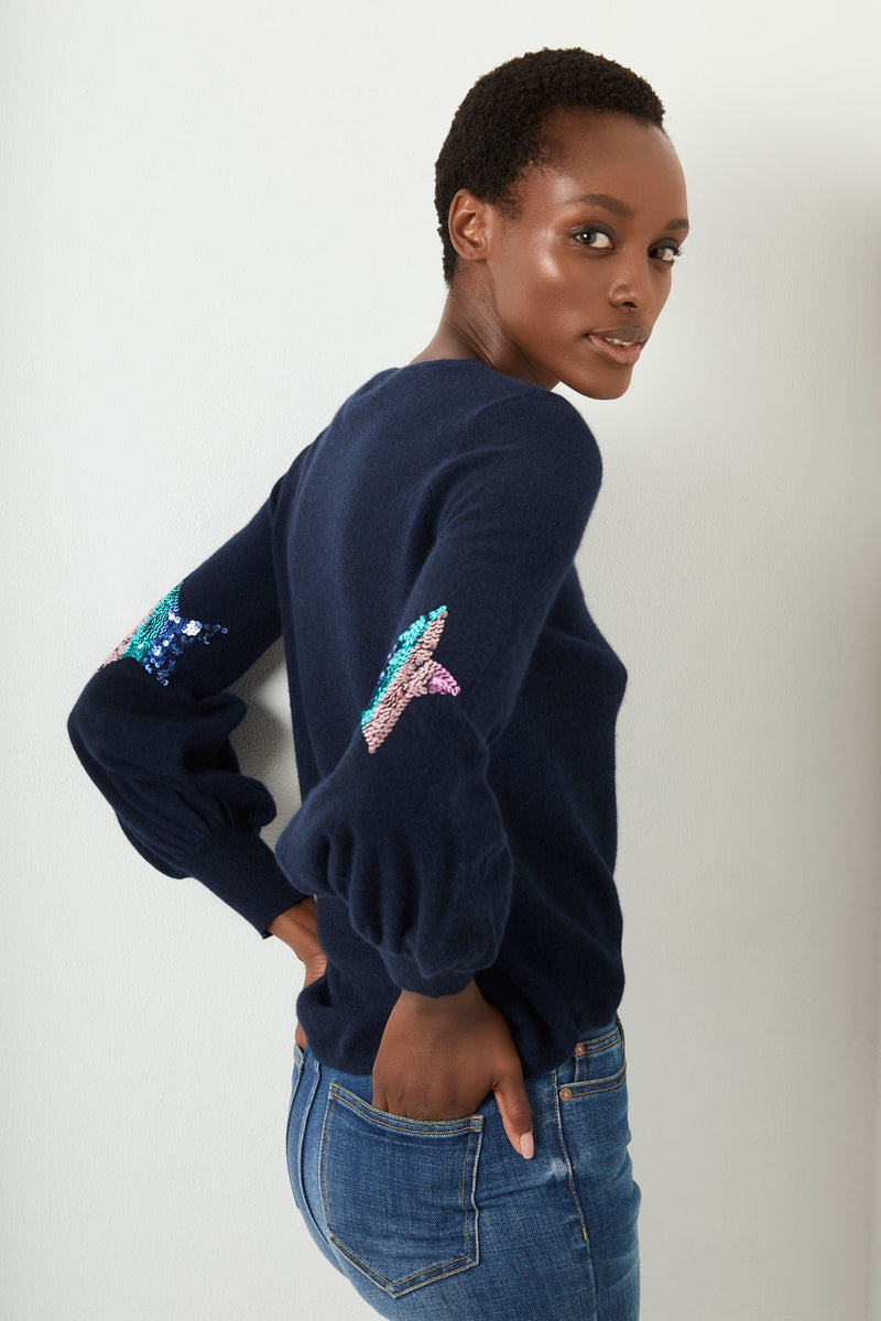 Flo Sequin Star Bell Sleeve - Navy/Rainbow