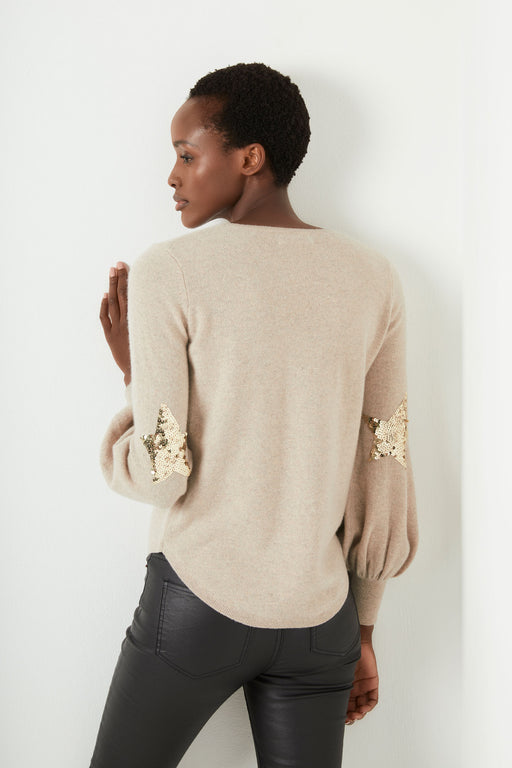 Flo Sequin Star Bell Sleeve - Taupe/Gold