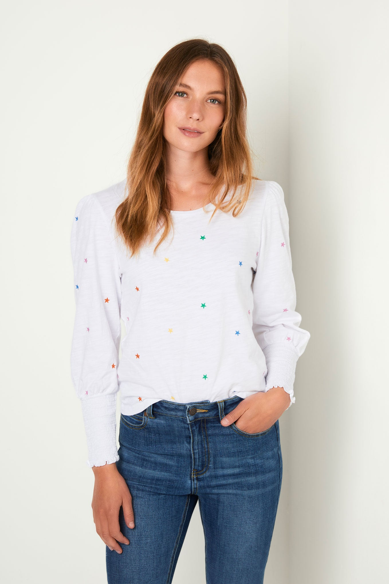 Fran Embroidered Star Tee - White