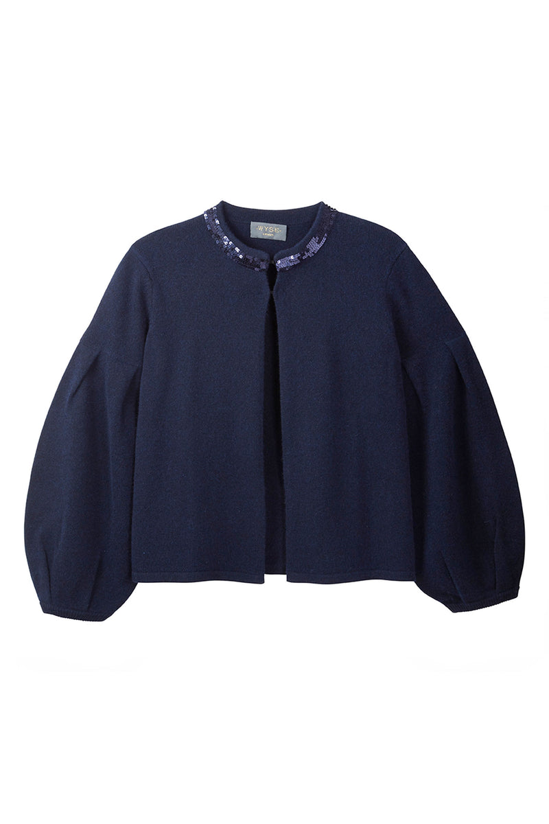 Fran Sequin Collar Jacket - Navy