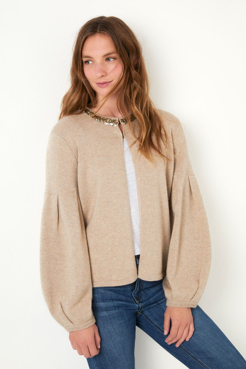 Fran Sequin Collar Jacket - Taupe