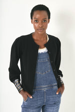 Fran Sequin Cuff Cardigan - Black