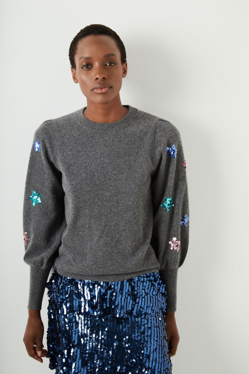 Fran Sequin Star Sleeve - Charcoal