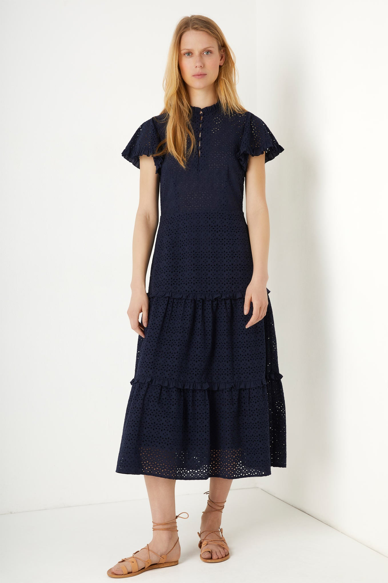 Francoise Tiered Broderie Dress - Navy