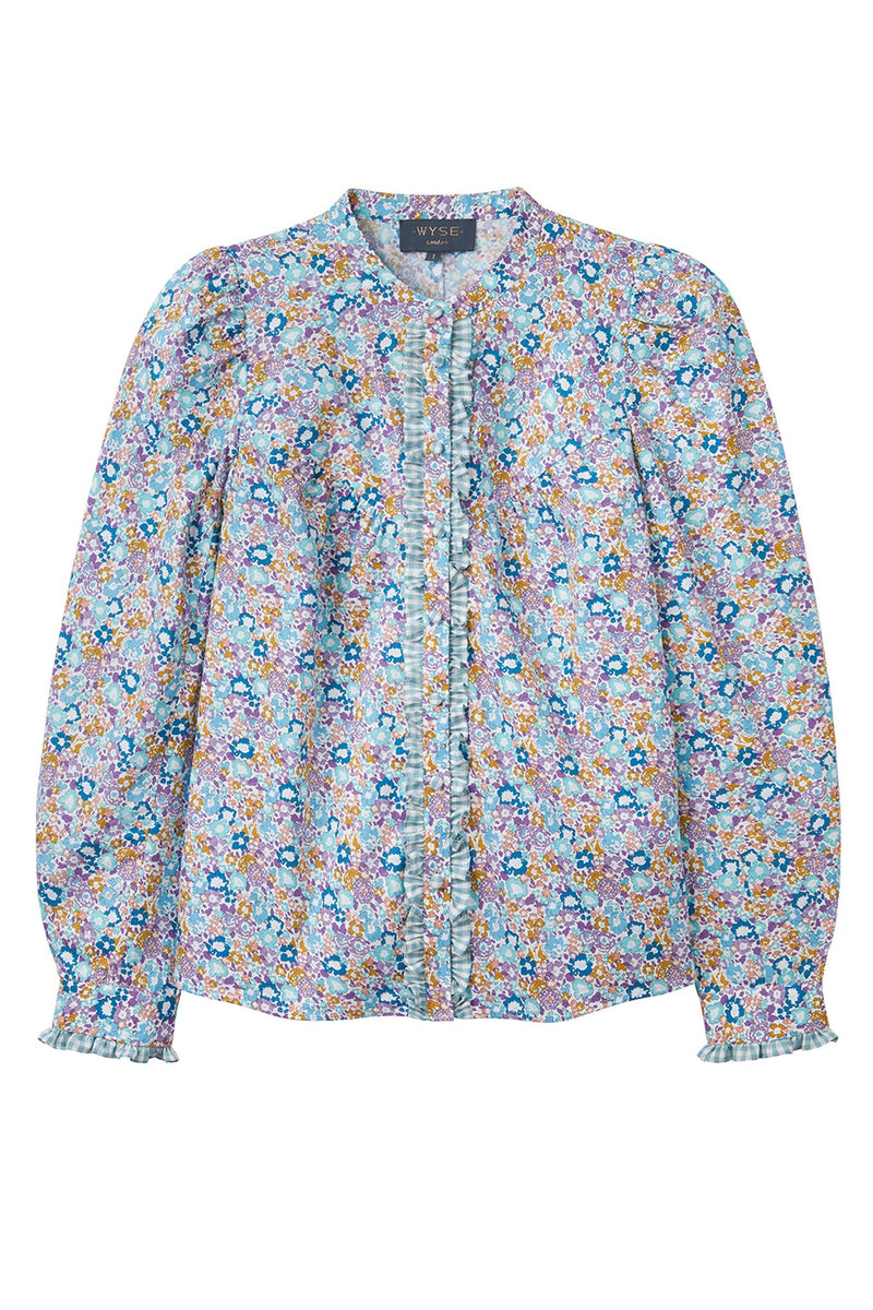 Freida English Ditsy Print Blouse - Multi Blue