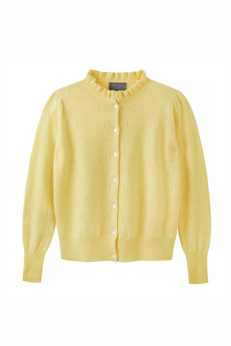 Isabella Star Pointelle Frill Neck Cardigan - Yellow