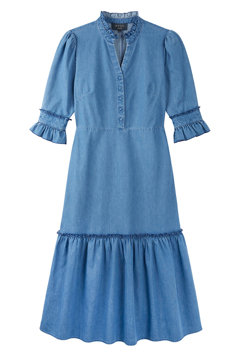 Isobel Denim Dress - Light Blue