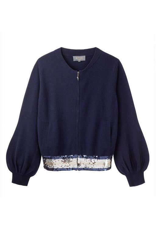 Katie Sequin Balloon Sleeve Bomber - Navy