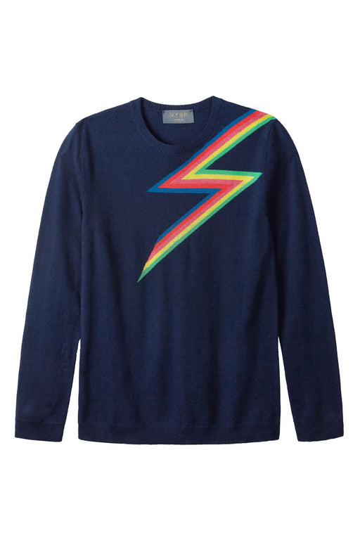 RAINBOW LIGHTNING MERINO - Navy