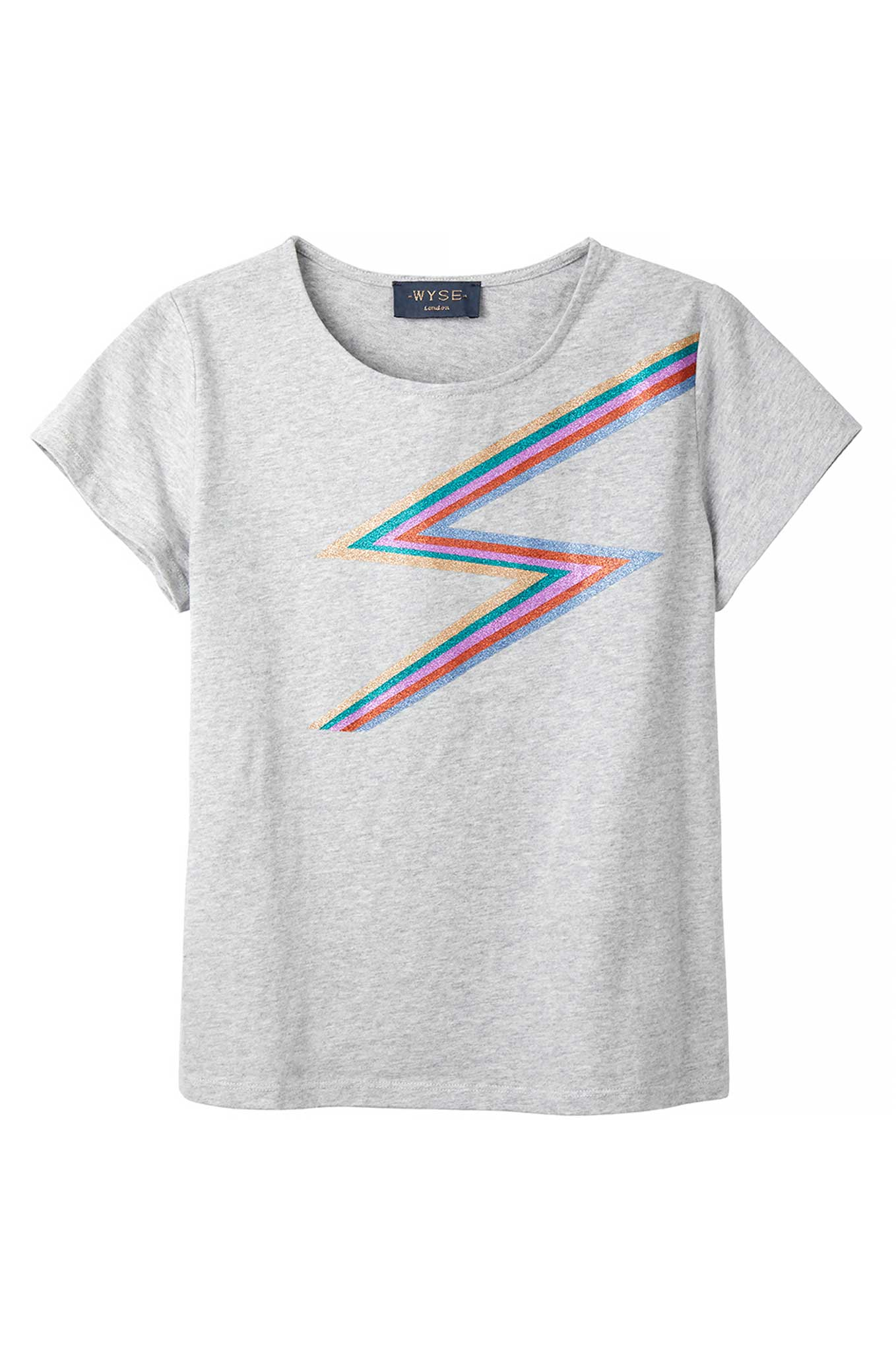 Rainbow Lightning Tee - Grey