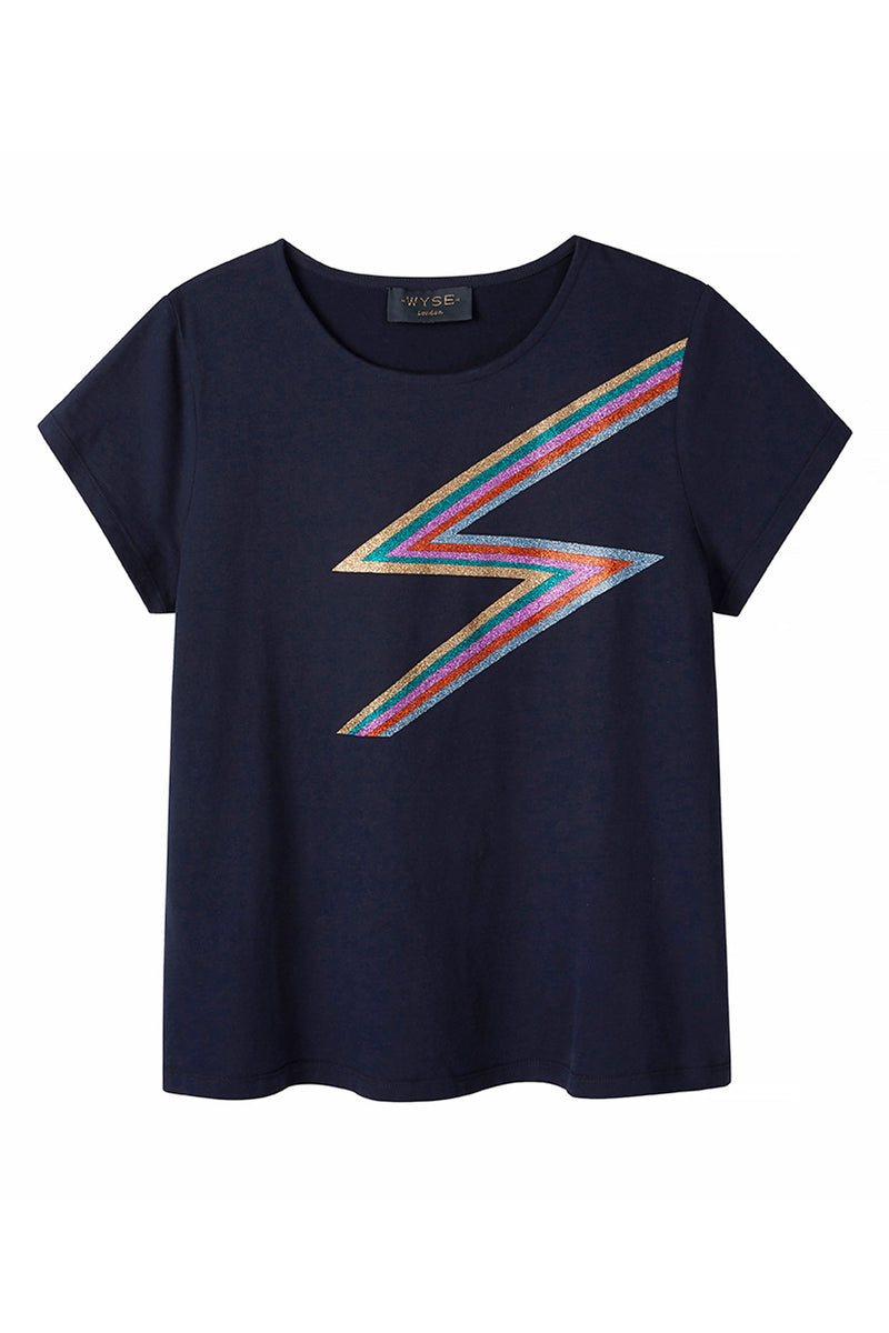 Rainbow Lightning Tee - Navy
