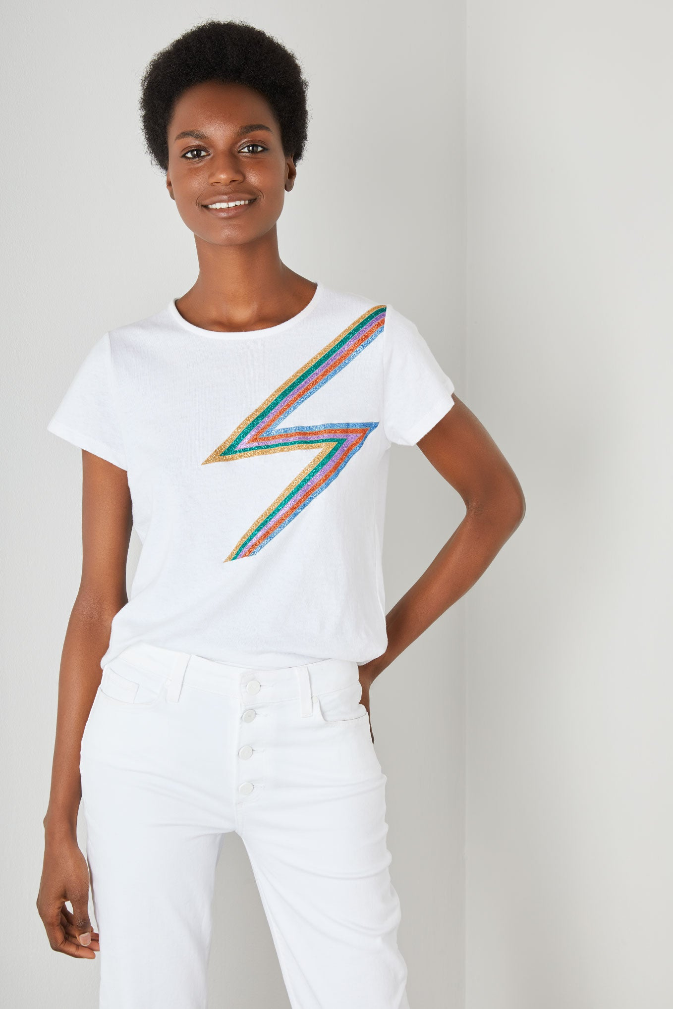 Rainbow Lightning Tee - White