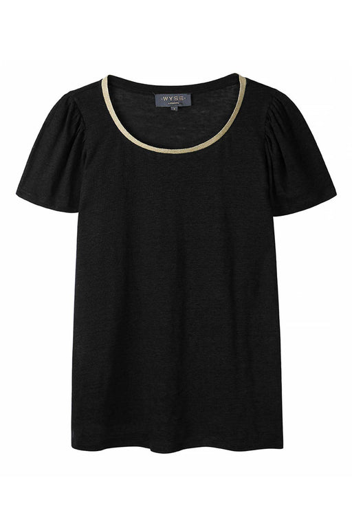 Lily Lurex Trim Puff Sleeve Tee - Black