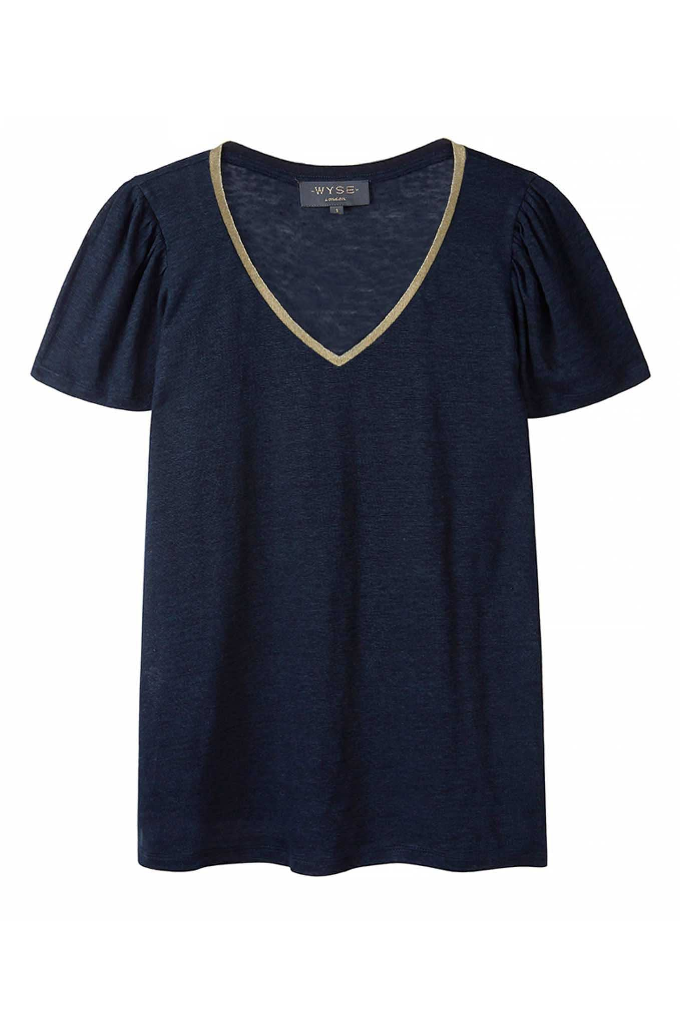 Lily V Neck Lurex Trim Tee - Navy