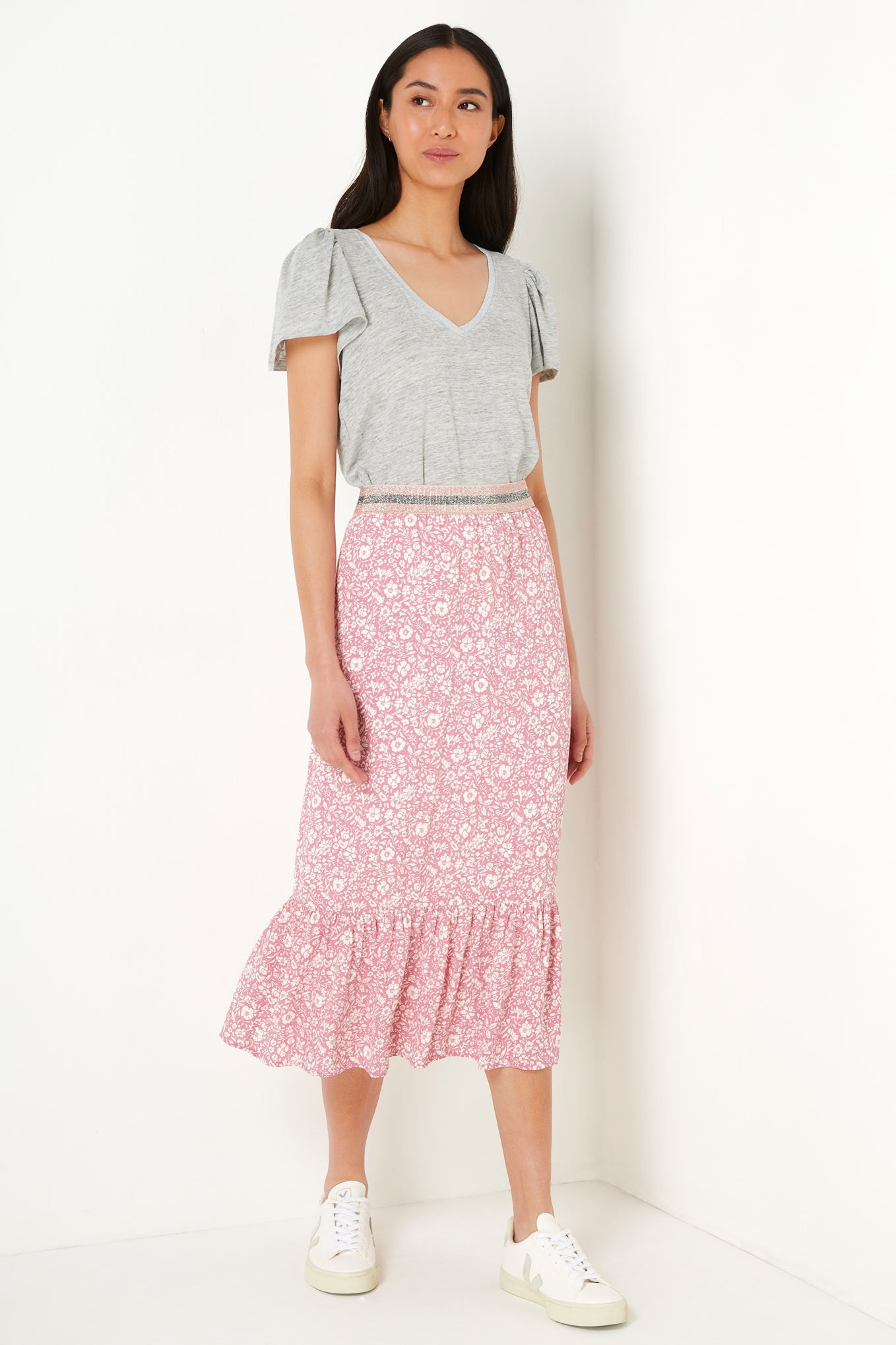 Layla Two Tone Floral Print Skirt - Pink