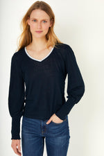 Lily V Neck Smocked Sleeve Lurex Trim Tee - Navy/Silver