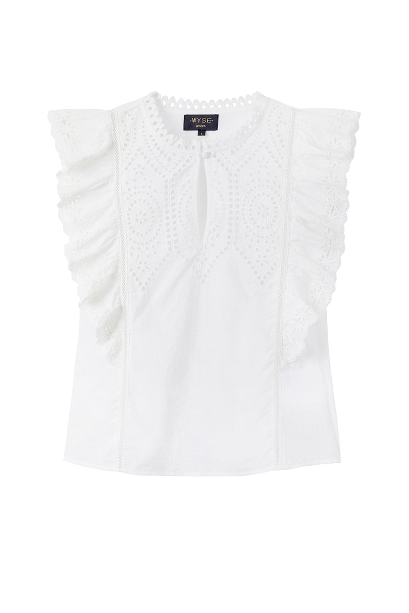 Lucie Broderie Top - Ivory