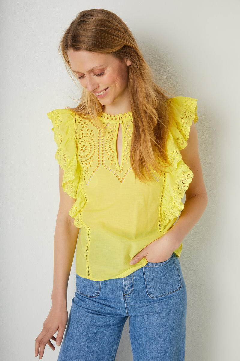Lucie Broderie Top - Yellow