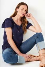 Manon Embroidered Star Tee - Navy
