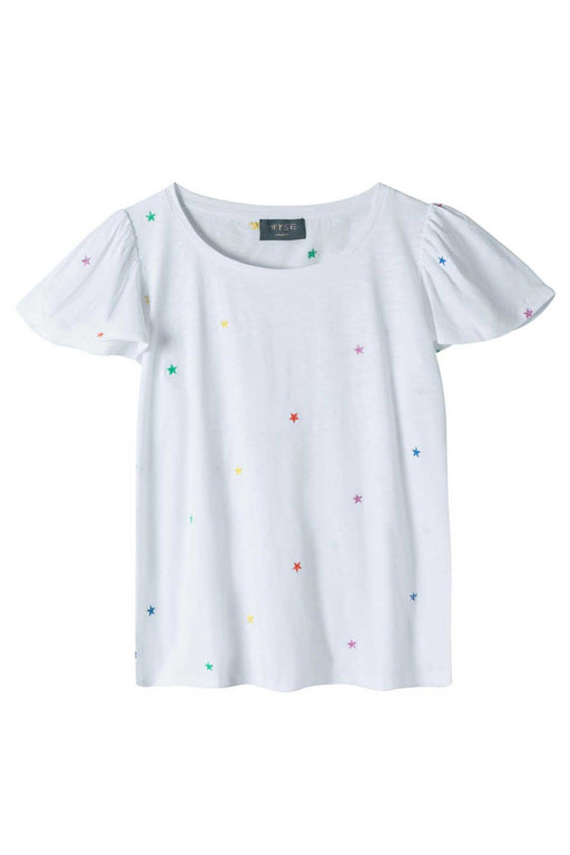 Manon Embroidered Star Tee - White