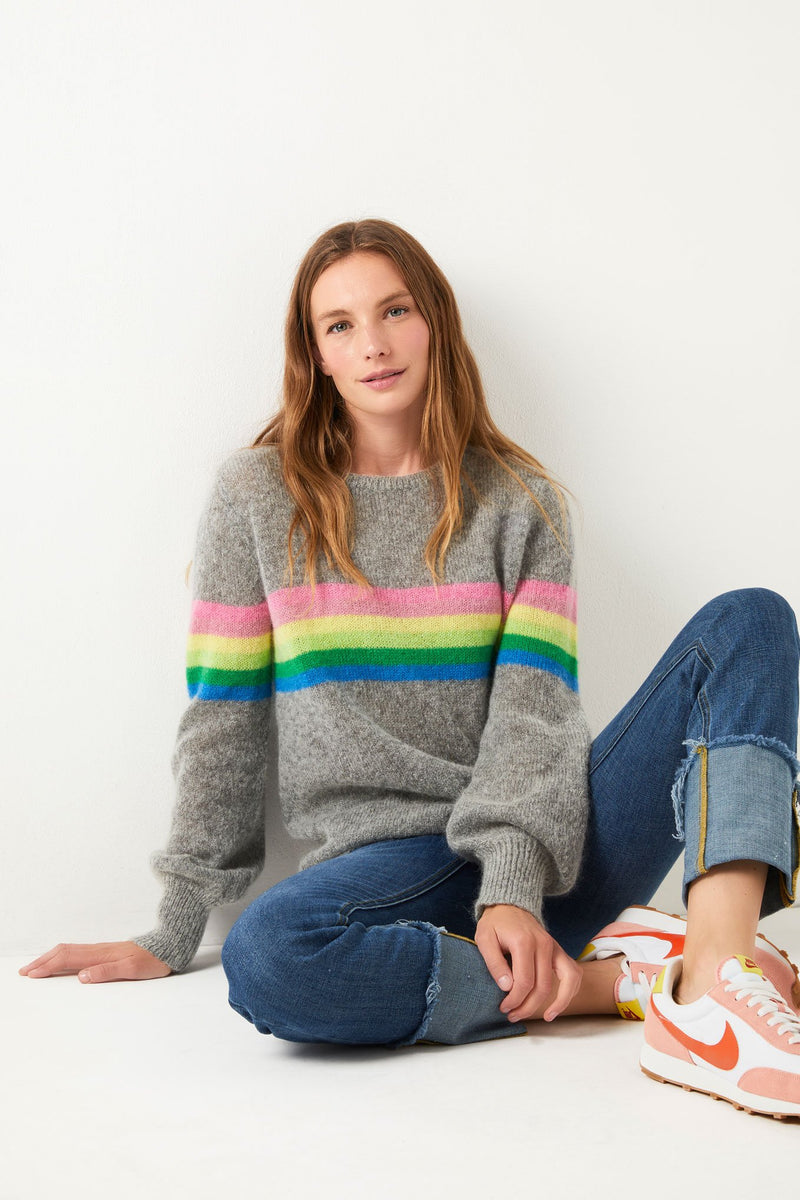 Melanie Rainbow Stripe - Grey