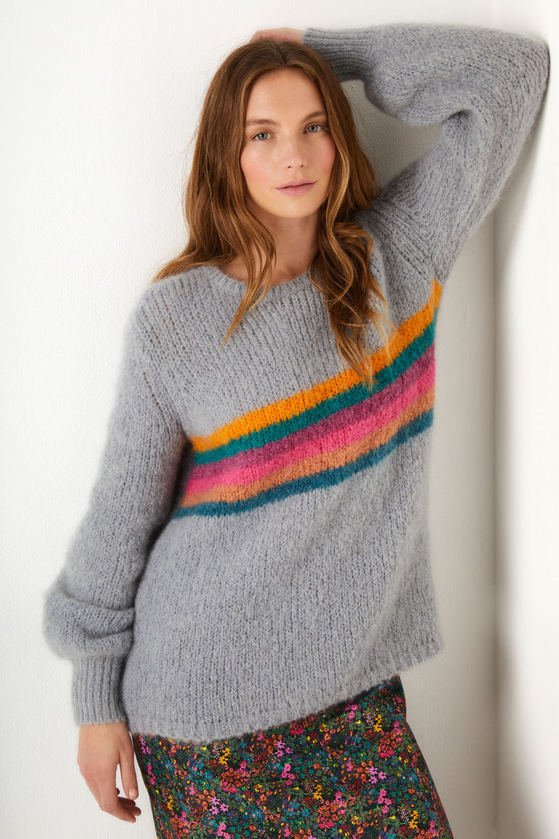 Misty Rainbow Chunky Stripe - Grey