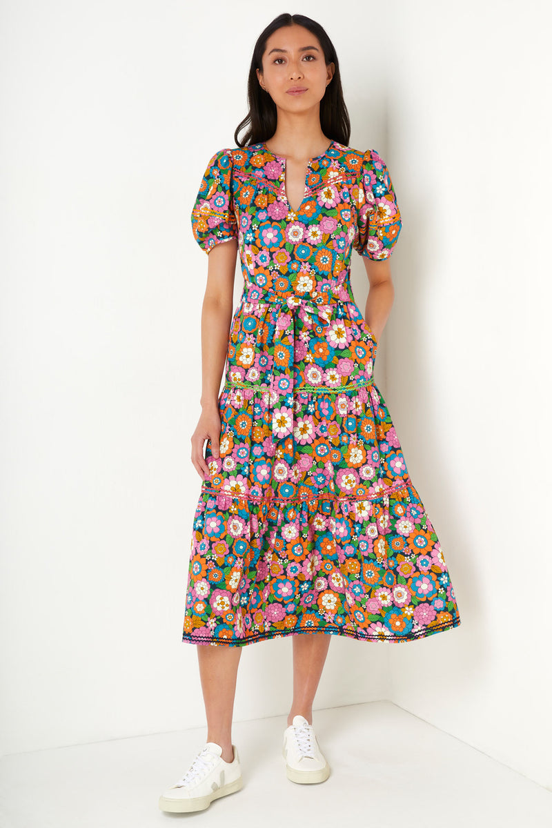 Nadine Belted Carnation Print Dress - Multi