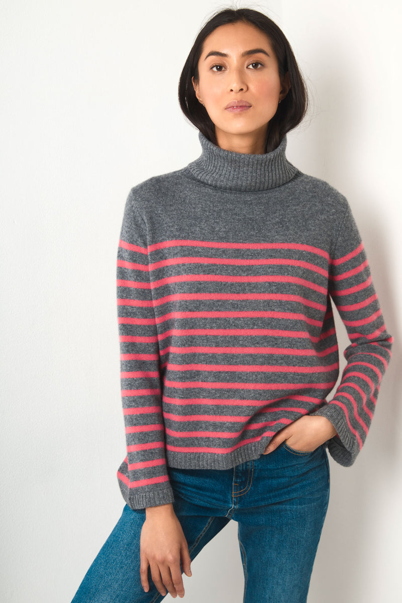 Nina Funnel Neck - Charcoal/Pink