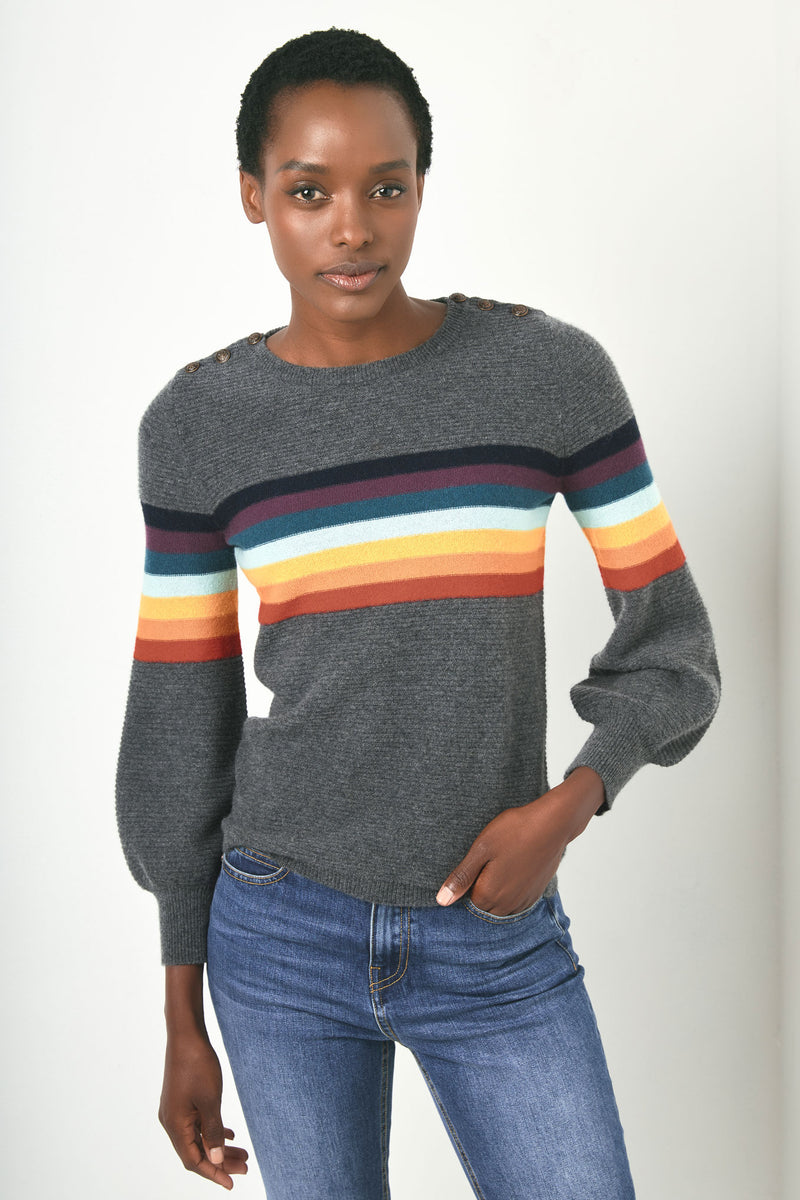 Nova Rib Rainbow Puff Sleeve - Charcoal