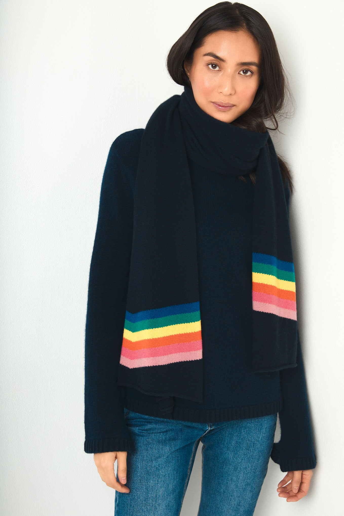 Olivia Rainbow Wave Scarf - Navy