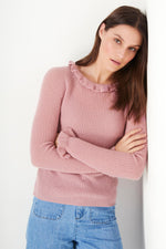 Renee Ruffle Neck - Dusty Pink