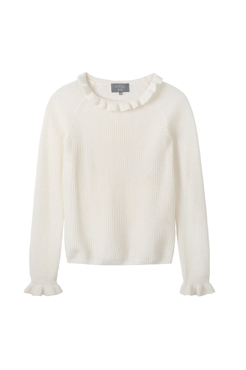 Renee Ruffle Neck - Ivory