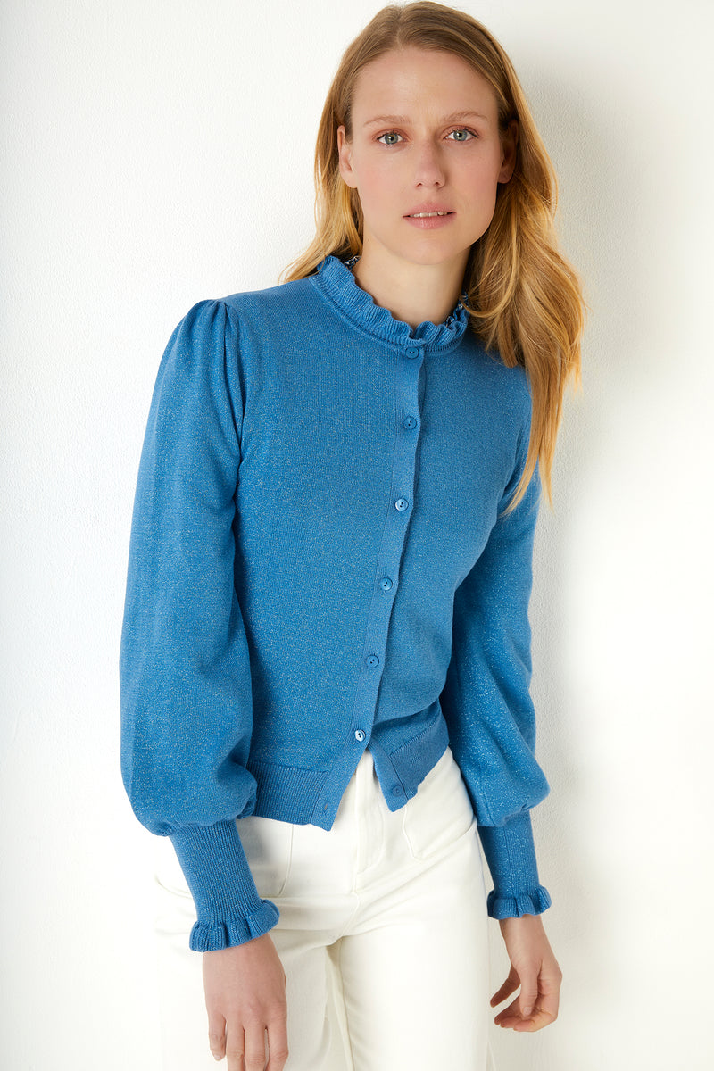 Selena Ruffle Neck Cardigan - Blue