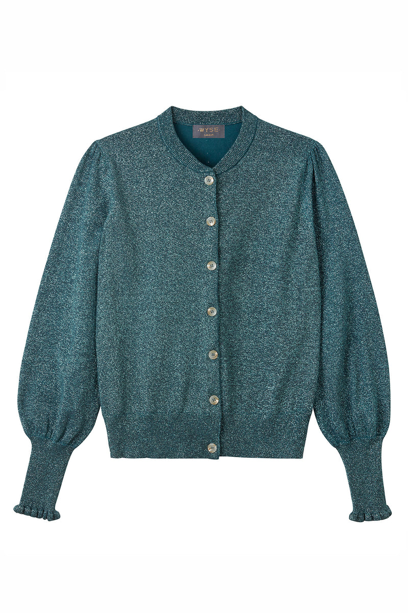 Selena Lurex Cardigan - Emerald Green