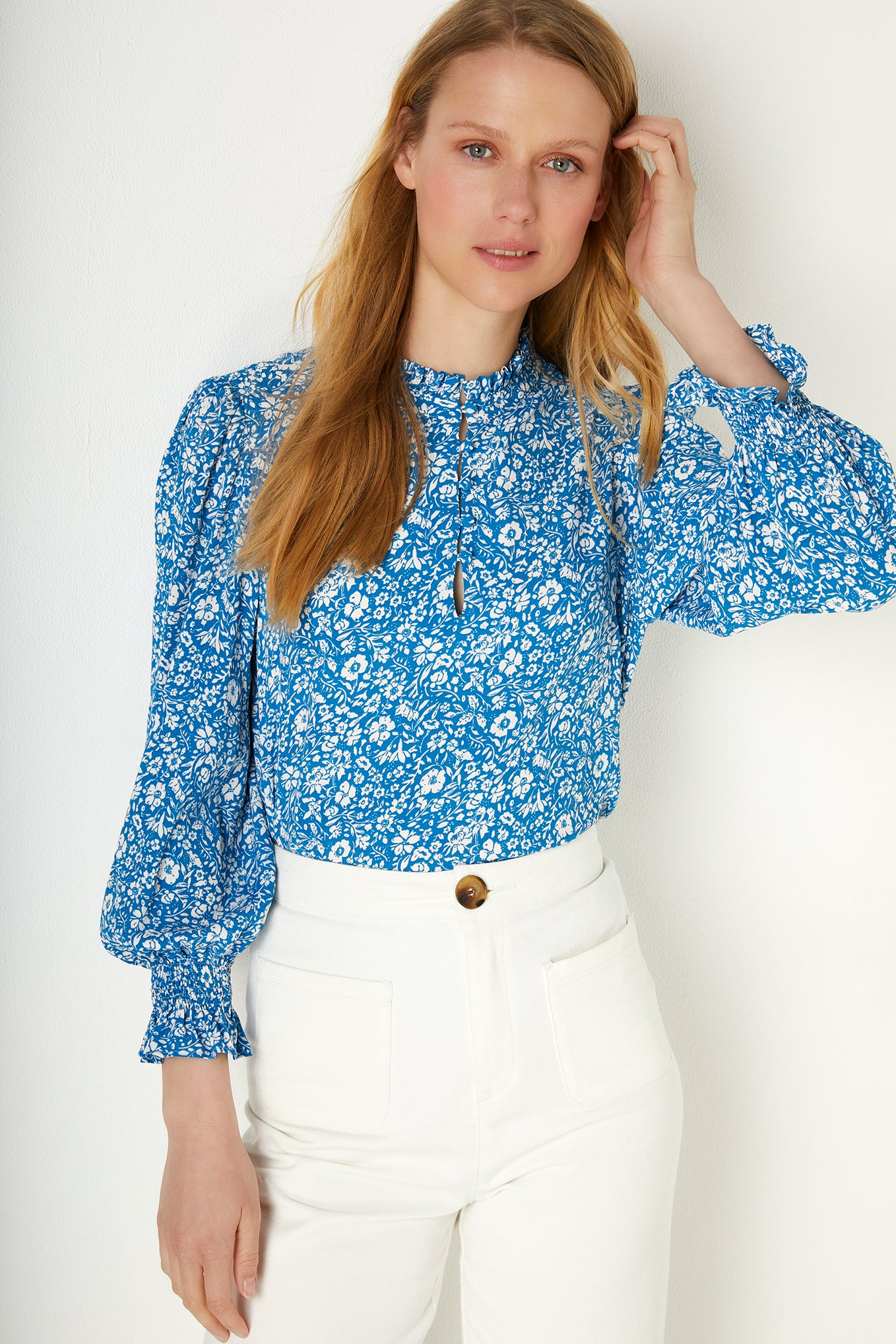 Theresa Two-Tone Floral Print Blouse - Blue