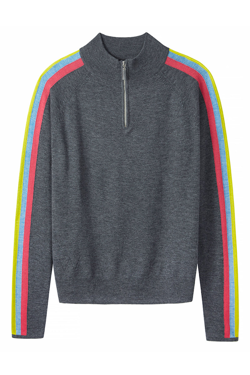Zoe Rainbow Zip Through - Charcoal