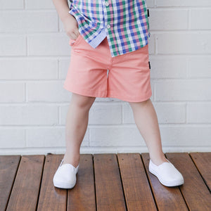 Boys PInk Salmon Chino Shorts Love Henry