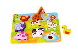 Chunky Wooden Puzzle First Toddler Puzzle Farm Animals