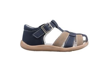 Boys Enclosed Toe Sandal - Nathan Navy/Tan