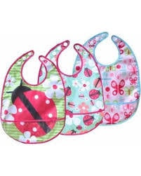 JJ Cole Baby Girls 3pk Bib Set Flutter